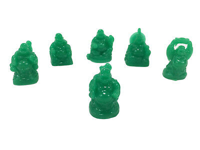 Happy Laughing Buddha Set of 6 Jade Green Resin Statues Small Feng Shui