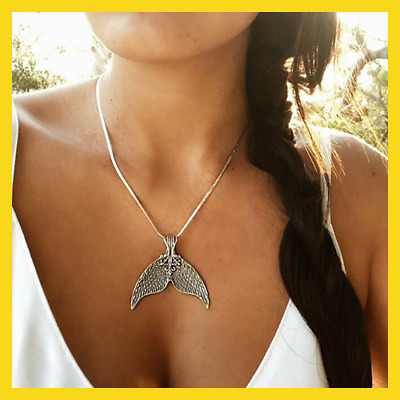 Mystical Mermaid Pendant Necklace Antique Silver Whale Tail Charm Chokers
