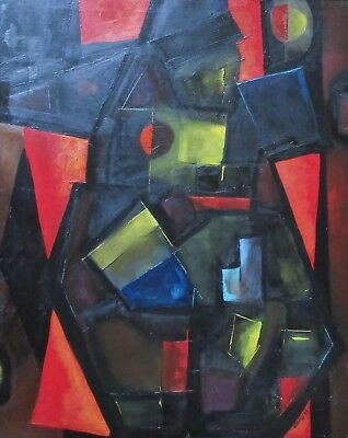 Large Vintage 1963 Mid-Century Abstract Figural Oil Painting, Signed E. Roddy