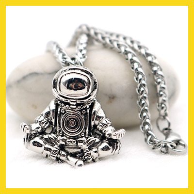 Astronaut Pendant Necklace [Galaxy Universe Spaceman] Meditation Trinket Retro
