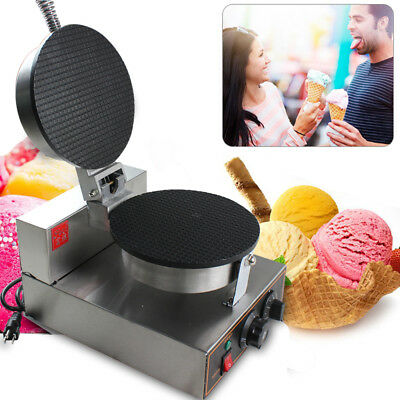 Electric Ice Cream Waffle Cone Machine Egg Roll Maker Stainless Steel Non-stick