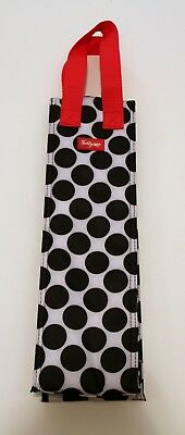 Thirty One Perfect Bottle Thermal Tote Wine Cooler Bag Black White Polka Dots