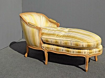 Vintage French Provincial Gold CHAISE LOUNGE Settee Goose Down Feathers Cushion