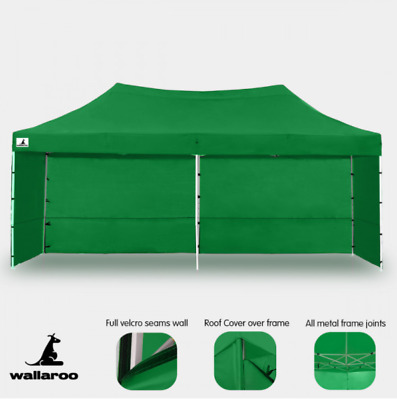 Gazebo Pop Up Tent Marquee Party  Sport Events Roof Steel Frame Heavy Duty Green