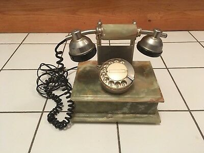 RARE-BEAUTIFUL-Vintage 1950's Green & Red Onyx/Marble/Stone Rotary Telephone