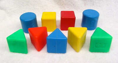 Vintage Fisher Price Replacement Sorting Blocks Round Square Triangle FREE SHIP