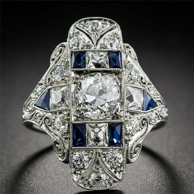 Large Cubic Zirconia Rhinestone Ring Wedding Engagement Jewelry For Women D