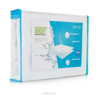 LUCID Super Soft Rayon from Bamboo Jersey Mattress Protector - Waterproof -...