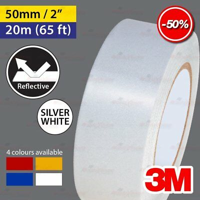 """3M SILVER WHITE 50mm 2.0"""" 20m 65ft Reflective Car Motorcycle Trailor Truck Tape"""