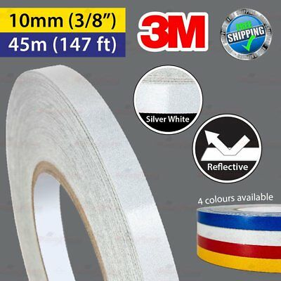"""3M SILVER WHITE Reflective Conspicuity PinStripe Vinyl Tape 10mm 3/8"""" 45m 147ft"""