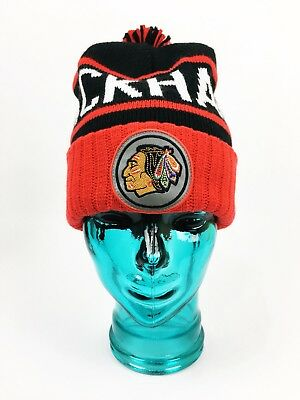 Chicago Blackhawks Mitchell & Ness Cuffed Knit NHL Beanie Pom Red Black