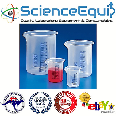 Plastic Beakers Blue Printed Graduation Autoclavable, 3 sizes, 1 pc/pack