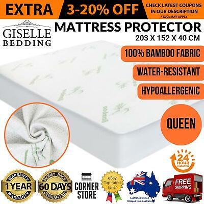 Queen Size Bed Waterproof Matress Protector Bamboo Fabric Cover Water Resistant