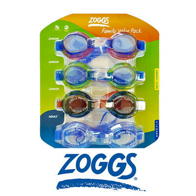 [4 PACK] Zoggs 3 Junior Kids & 1 Adult Swimming Goggles UV Protection | Anti Fog