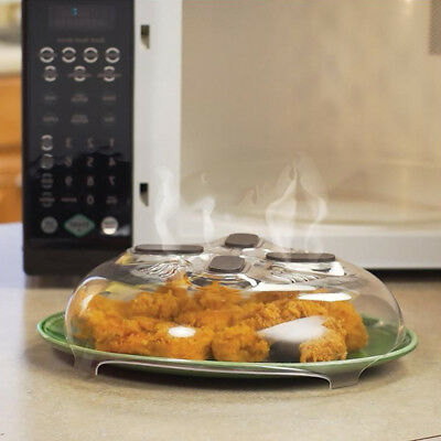 New Food Splatter Guard Microwave Hover Anti-Sputtering Cover w/Steam Vents -AI9