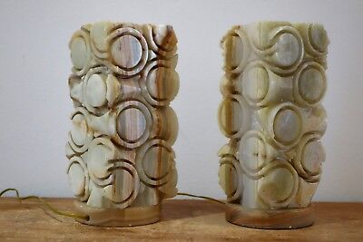 Pareja de lámparas vintage alabastro 1960s alabaster table lamps