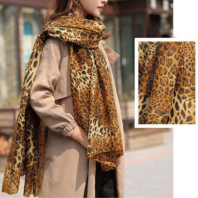 Women Soft Leopard Print Chiffon Scarf Long Shawl Wrap Stole Winter Scarves Gift
