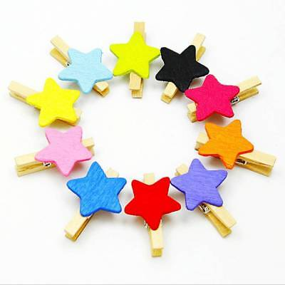 50 Pcs Colored Star Mini Wooden DIY Craft Clips Card Photo Paper Peg Pin