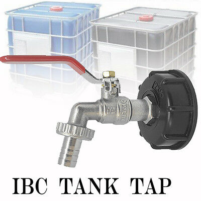 "IBC Tank Adapter S60X6 To Brass Garden Tap With 1/2"" Hose Fitting Oil Fuel Water"