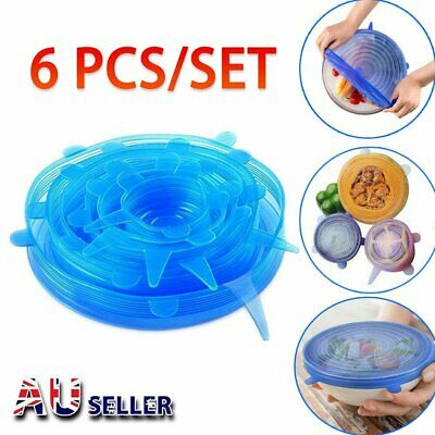 Stretch Reusable Silicone Bowl Wraps Food Saver Cover Seal Lids NSTA LIDS 6PC BO