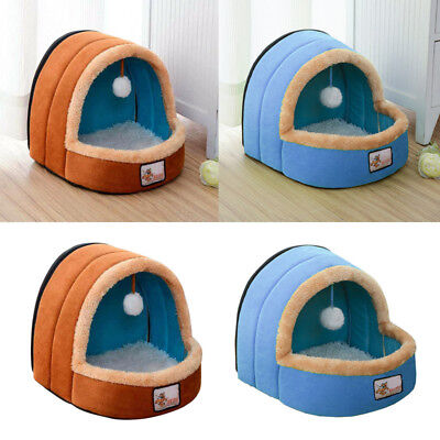 Small Large Soft Warm Igloo House Bed Pet Cat Dog Puppy Wool Pad Cave Mat Snug