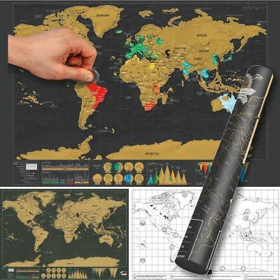 Large Travel Tracker Scratch World Map Poster with Country Flags Scratch Map