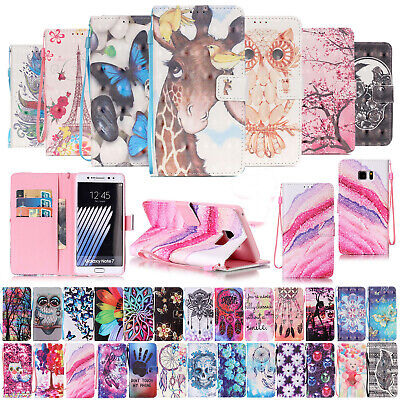 For Samsung Galaxy S7 S6 Edge Case Cute Patterned Leather Card Stand Flip Cover