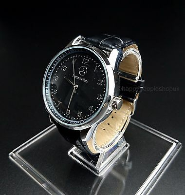 Mercedes Benz² Mens Watch Stainless Steel Black Leather Strap