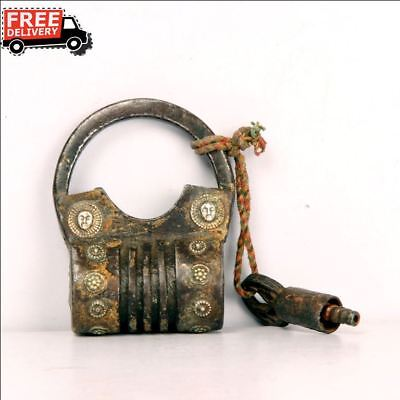 Old Iron 1940's Solid Handcrafted Silver Figure Fitted Unique Padlock Rare 7454