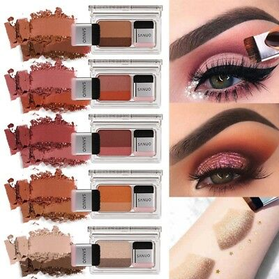 Double Color Lazy Eyeshadow Makeup Palette Pigment Waterproof Shimmer Eye Shadow