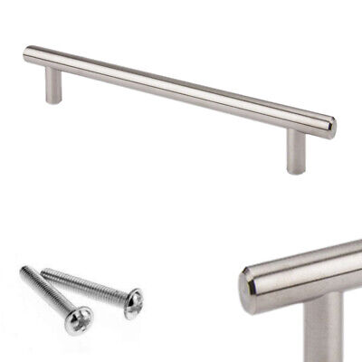 Brushed Steel T Bar Handles Kitchen/Cabinet/Door/Cupboard/Drawer/Bedroom UK