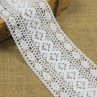 3 Yards White wide Hollow Cotton Crochet lace Trim Clothing Sewing Accessories