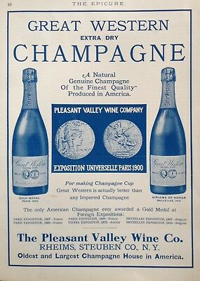 """1919 Ad(J6)~S.s. Pierce Co. """"the Epicure"""" Pleasant Valley Wine Co. Rheims, Ny."""