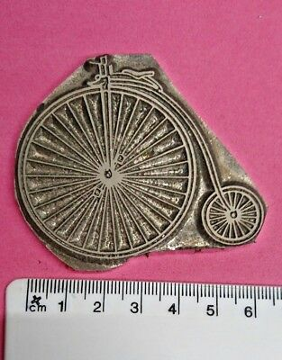 Hot Foil Printing Plate Adana Letterpress Art Craft Penny Farthing Bicycle #395