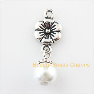 12Pcs Tibetan Silver Tone White Glass Round Beads Cross Charms Pendants 8x23mm