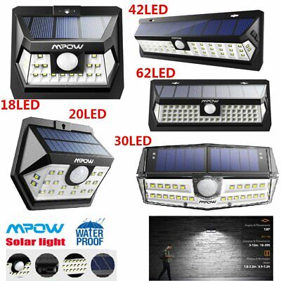 Mpow LED Solar Powered Lights Motion Sensor Security Bright Outdoor Wall Lamp UK