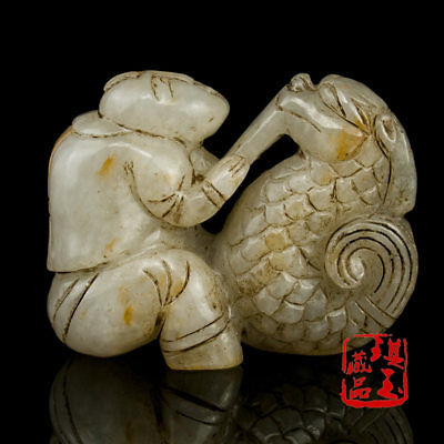 Asian China antique Natural hand carved Nephrite hetian jade dragon Child Statue
