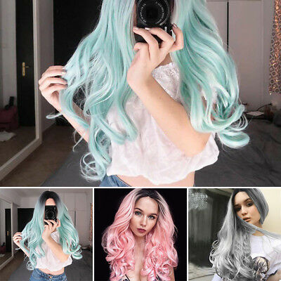 29'' Flaxen Ombre Wig Long Synthetic Curly Wavy Hair Wig Cosplay Party CA