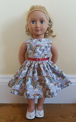 Handmade Doll Clothes fit Our Generation Doll Silver Unicorn Dress Diamante Trim