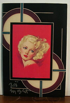 Zoe Mozert Hand Signed Pinup American Beauty Art Deco Style Note Card