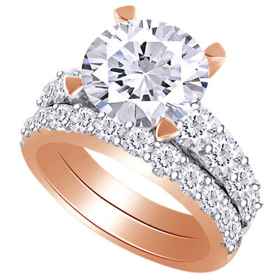 3.58 ct Brilliant Cut Diamond Engagement Ring Wedding Band Solid 14k Rose Gold