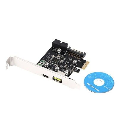 PCI-E 1x Express to USB 3.1 Type C Dual Port Expansion Card Adapter S@
