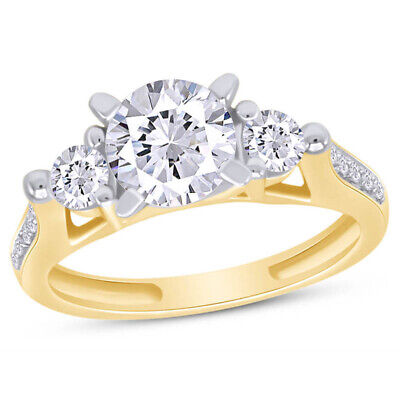 Holiday Sale 2.25Ct Round Cut 3-Stone Engagement Ring Real Solid 14K Yellow Gold