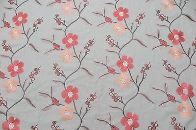"HARLEQUIN CURTAIN FABRIC ""Ophelia"" 2 METRES GREY/SLATE AND CORAL  EMBROIDERED"