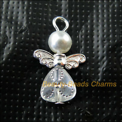 10Pcs Silver Plated Wings White Heart Dancing Angel Charms Pendants 14x22mm
