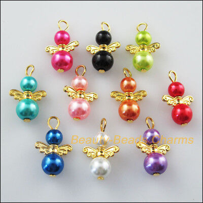 10Pcs Gold Plated Wings Mixed Dancing Angel Charms Pendants 14x22mm