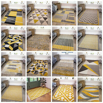 Ochre Mustard Yellow Rugs Living Room Small Large Geometric Rugs Black Friday UK