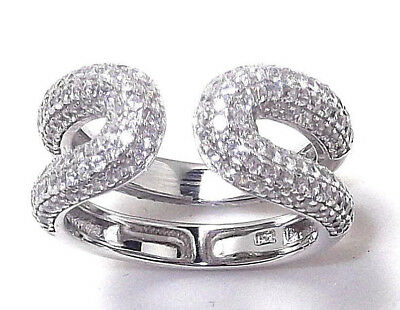 50% Off Rhodium Plated Solid 925 Hallmarked Silver Micropave Set Open Band Ring