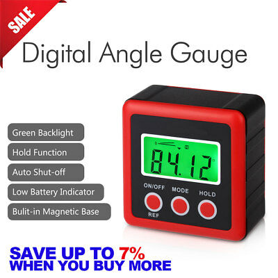 LCD Digital Protractor Level Bevel Box Gauge Inclinometer Angle Finder Backlight