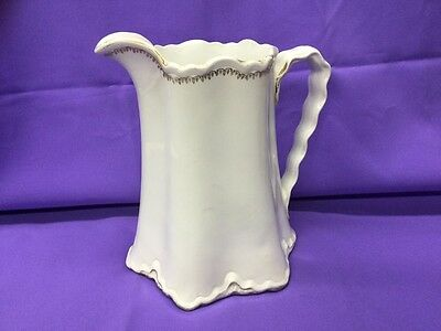 Vintage W.s.george Radisson Large White And Gold Pitcher